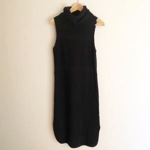 Witchery S 10 Black Roll Neck Wool Knit Midi Dress